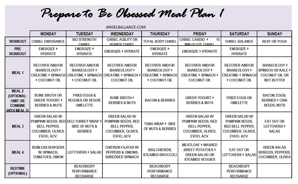 prepare to be obsessed meal plan 1 angelballance.com snip